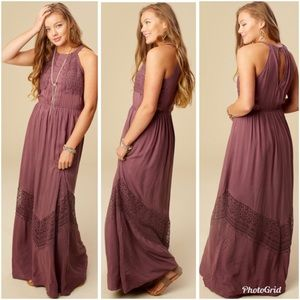 Altar'd State Mala Embroidered Maxi Dress Blue NWT